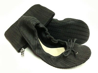 New Foldable / Black Denim Ballet flats with bag. M - Size 7-8
