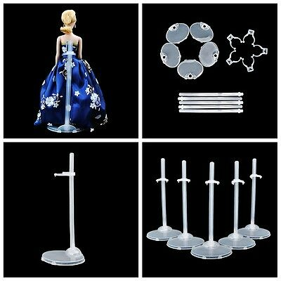 Plastic For Barbie Dolls 5 Pcs Doll Stand Display Holder Accessories