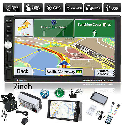 "7"" Double 2 DIN Car MP3 MP5 Player Stereo FM Radio GPS Bluetooth USB AUX+Camera"