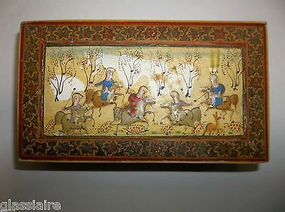 Vintage PERSIAN MINIATURE Painting INLAID WOOD BOX Middle East Islamic
