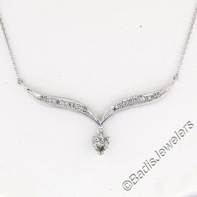 """14K White Gold .70ctw Round & Solitaire Heart Diamond """"V"""" Wing Pendant Necklace"""