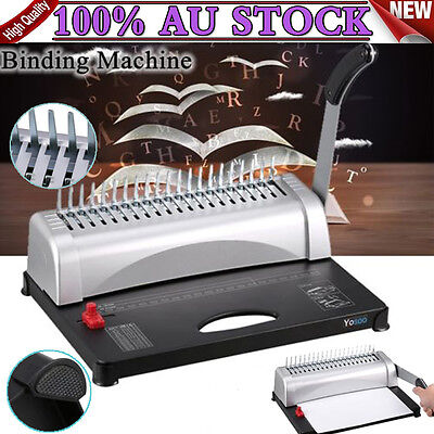 Paper Office Comb Binder / Binding Machine 21 Hole A4 Plastic Coil Punch Home AU