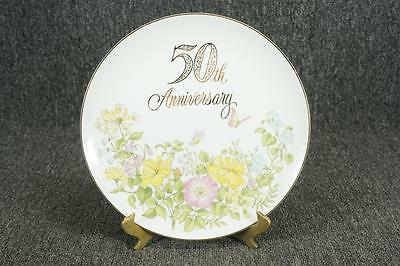 50Th Anniversary Floral Design Collector Plate With Gold Trim Hand Crafted