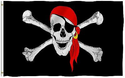 ANLEY Red Bandana Flag Jolly Roger Banner Polyester 3x5 Foot Pirate Flags