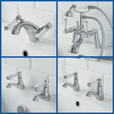 Traditional Bathroom Chrome Lever Handle Basin Mono Twin Sink Bath Shower Taps