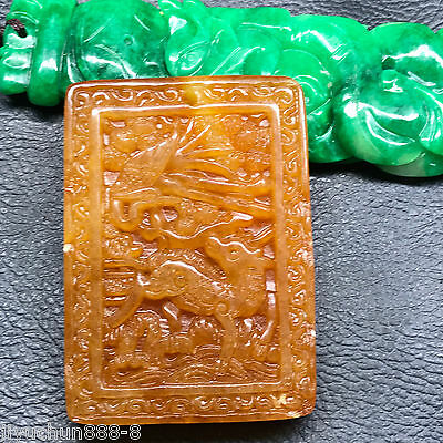 Chinese natural ancient old hard jade culture jadeite hand-carved pendant  10264
