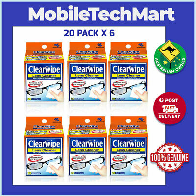CLEARWIPE◉LENS SUNGLASS CLEANER◉120 x PRE-MOISTENED MICROFIBRE WIPES◉VALUE PACK◉