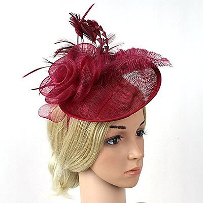 Meiliy Sinamay Fascinator Hat with Headband Mesh Feather Hair Clip For Wedding