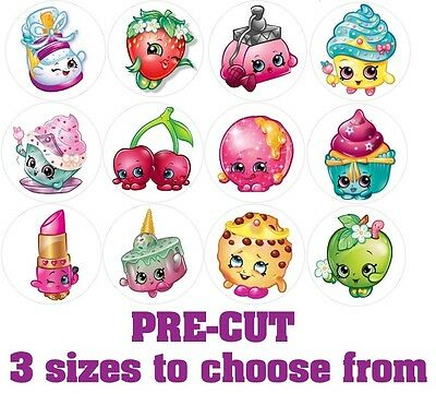 Shopkins Cupcake Toppers Edible Icing 3 sizes PRE-CUT 12 or 24