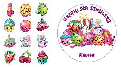 Shopkins Personalised Edible Icing Cake Topper 19cm PRE-CUT + 12 Cupcake Toppers