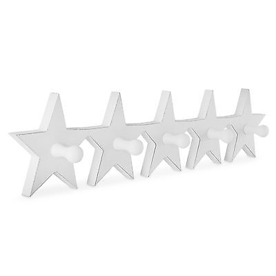 'Jive' White Wooden Star Five Hook Coat Hook for the Home