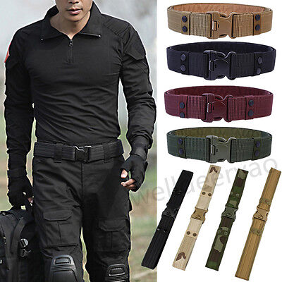 Men Outdoor Hiking Sports Waistband Army Military Canvas Buckle Belt Adjustable
