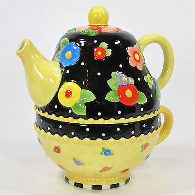 Mary Engelbreit TEA BLOSSOMS 12oz Tea For One Set Black Yellow Floral Print 2001