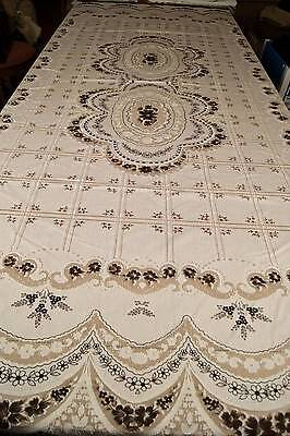 "VINTAGE 1970s NYLON TABLECLOTH Floral Lace Pattern 88"" Long T19"