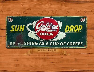 "TIN-UPS TIN SIGN ""Sun Drop Cola"" Rustic Cola Advertisement Soda Wall Decor"