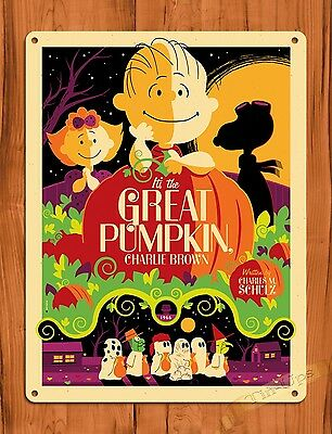 "TIN SIGN ""The Great Pumpkin Charlie Brown""  Vintage Art Painting Movie Poster"