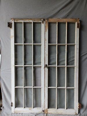 Antique French Door Window Cabinet Bookcase Casement Vtg Shabby 61x22 177-17P
