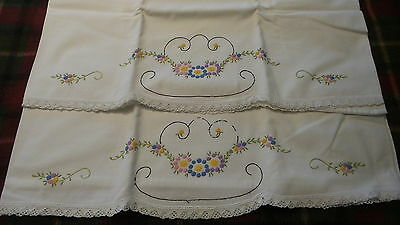 Vintage EMBROIDERED PILLOWCASE PAIR Pink,Purple,Blue,Yellow Floral Dots