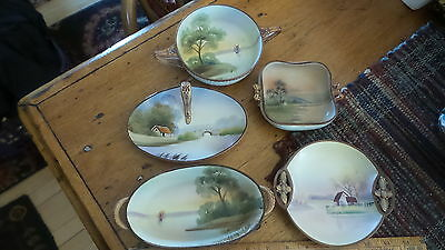 5 Antique HAND PAINTED NIPPON SMALL HANDLED DISHES, Fancy, Similar Handles