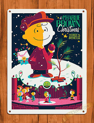 """TIN SIGN """"A Charlie Brown Christmas """" Purple Art Painting Movie Poster Peanuts"""