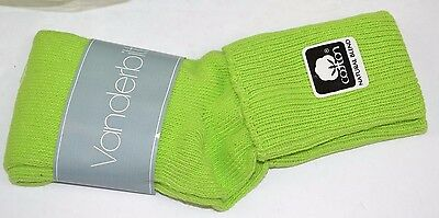 Vtg 80's 1 Pair VANDERBILT SPRINGFOOT Lime Green 9-11 Cuffed Socks