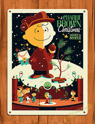 "Tin Sign ""A Charlie Brown Christmas "" Brown Art Painting Movie Poster Peanuts"