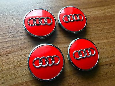 4 x original audi nabendeckel felgendeckel 60mm rot. Black Bedroom Furniture Sets. Home Design Ideas