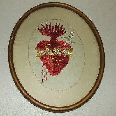 Antique Victorian Framed Religious Immaculate Heart Of Mary Embroidery Tapestry