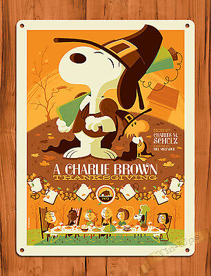 """TIN SIGN """"A Charlie Brown Thanksgiving"""" Yellow Art Painting Movie Poster Peanuts"""