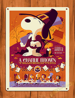 """TIN SIGN """"A Charlie Brown Thanksgiving"""" Purple Art Painting Movie Poster Peanuts"""