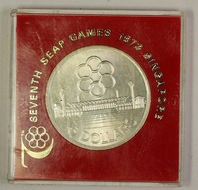1973 Singapore 5 Dollar Silver Coin Commemorative 7th SEAP Games
