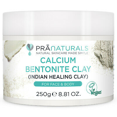PraNaturals Calcium Bentonite Clay Face Mask 100% Organic Natural Minerals 250g