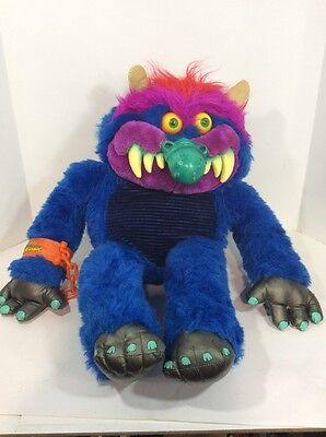 Vintage My Pet Monster Plush Stuff Toy Long Nose W/ Cuff 1986 Amtoy