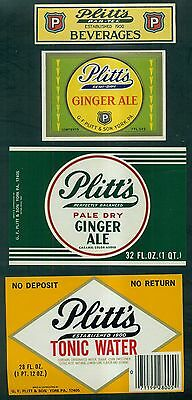 Vintage Plitt's Par-Tee Ginger Ale,Tonic Water and Beverages Labels - York,PA