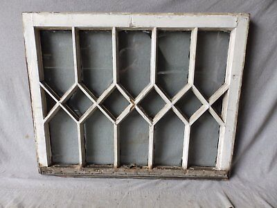 Antique Diamond Pattern Window Sash Vtg Shabby Cottage Chic Tudor 27x34 181-17P