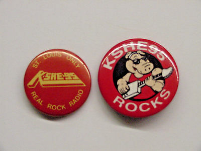 2 Diff. Vintage Kshe Radio Sweet Meat Pinback Buttons