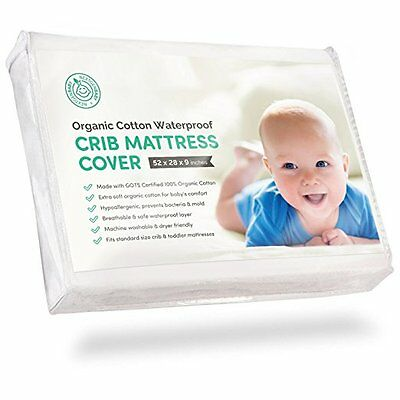 Certified Organic Cotton Waterproof Crib Mattress Pad Cover with 100% Organic