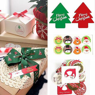 Christmas Paper Peel Off Stickers Bake Wrapping Gift Bags Decor Sealing Sticker