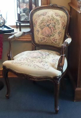 Vintage Mid-Century 1950's Chateau D'ax French Provincial Tapestry Armchair