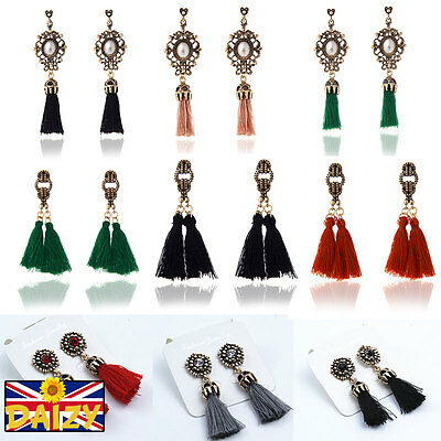 Vintage Dangle Earrings Flower Drop Tassel Earrings Black Red Grey Drop Boho New