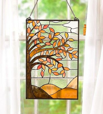 Stained Glass Panel for Window Tiffany Style Suncatchers Mission Autumn Tree