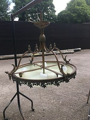Glass Ceiling Lamp With Brass Fittings Item Being Glass Is Collection Only