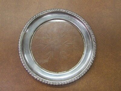 Small Sterling Glass Bottom Plate with Etched Floral Design A-4