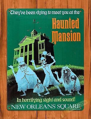 TIN SIGN Haunted Mansion New Orleans Square Walt Disney Ride Art Poster