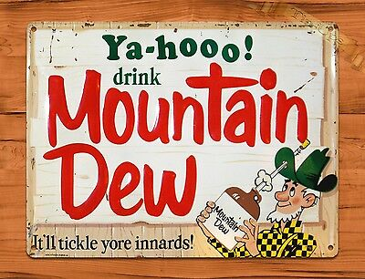 "TIN-UPS TIN Sign ""Yahoo Mountain Dew"" Vintage Soda Ad Garage Alcohol Bar"