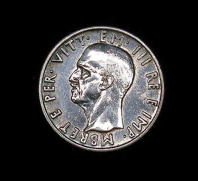 1939-R Albania 5 Lek silver coin About Uncirculated high grade polished
