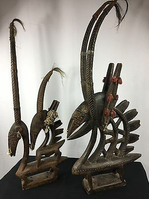 2 African Bambara Bamana headdress Chiwara Antelope Carved Wood Mali tribal art