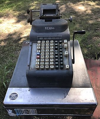 Vintage R.C. Allen Cash Register Mercantile Antique Working Adding Machine