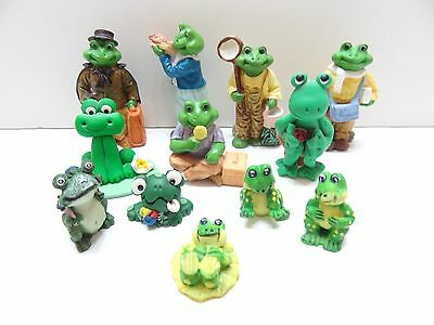 Lot Of 12 Mini Minature Frogs Fun Colors & Poses
