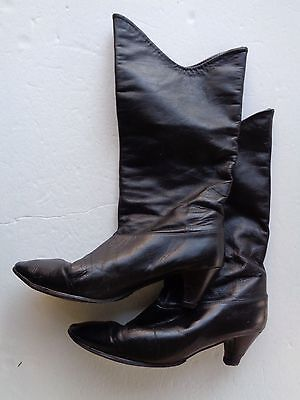 Vintage Cobbies Leather Women's Boots Black Knee High Size 8.5 M